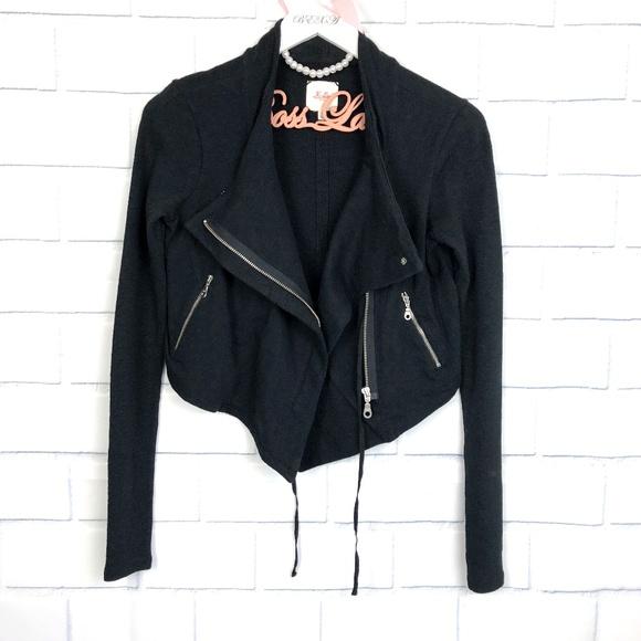 Madewell Jackets & Blazers - Madewell Hi-Line Fleece Black Moto Jacket Small